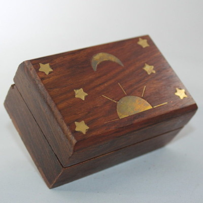 Decorative Box - Brass Sun, Stars and Moon Inlay