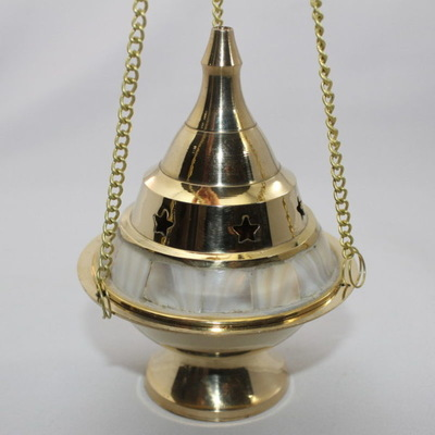 Hanging Incense Burner - Brass with Mother of Pearl and Stars