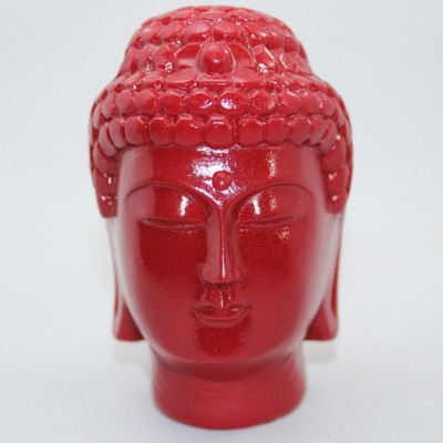 Buddha Head Resin Statue- Red