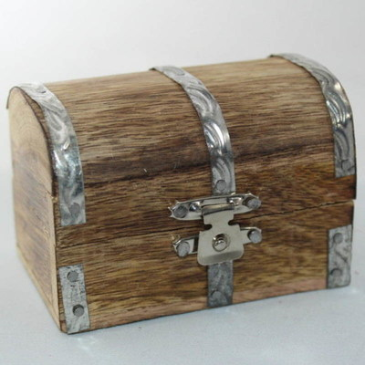 Mini Rustic Aged Wood Trinket Box