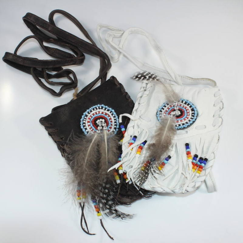 Fringed Leather Medicine Pouch with Strap