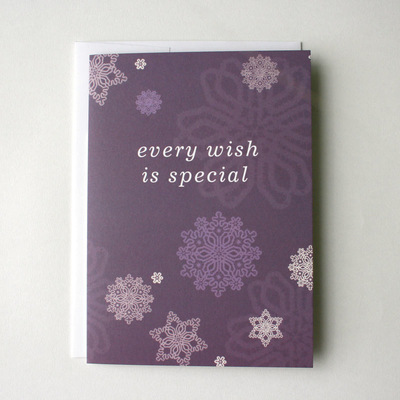 Purple Snow Flying Wish Paper Card Greeting Kit