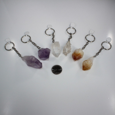 Natural Rough Crystal Keychain