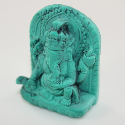 Mini Ganesh Statue - Antiqued Jade Resin Color