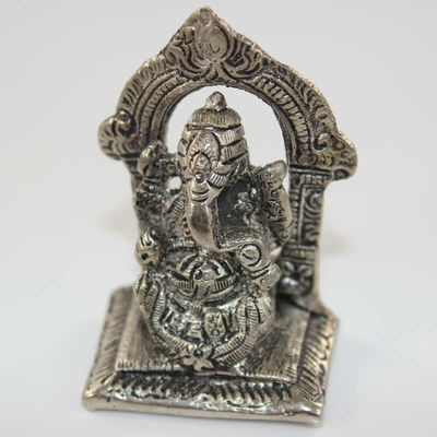 Mini Ganesh Statue - Antiqued Pewter