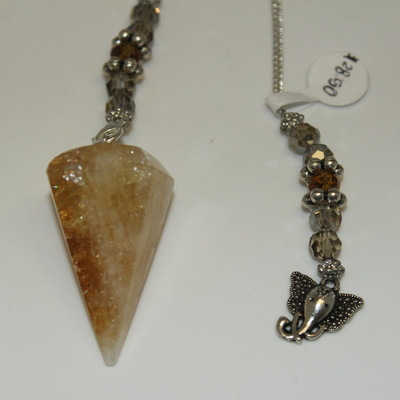 Citrine (hexagonal) with Charm