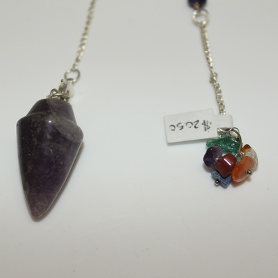Amethyst (smooth) Pendulum with Chakra Stone Charm