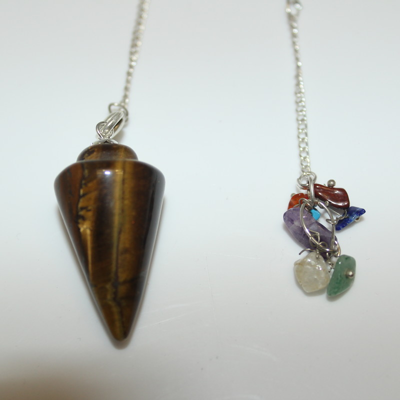 Tiger Eye (smooth) with Chakra Stone Charm
