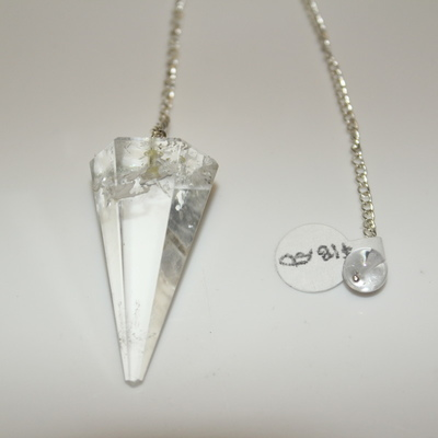 Clear Quartz (hexagonal) with Clear Bead Charm