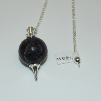 Amethyst (round) Pendulum with Silver Bead Charm