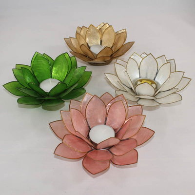 Capiz Shell Lotus Flower Tealight Candle Holder
