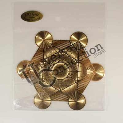 Metatrons Cube Gold Plated Crystal Grid Plate