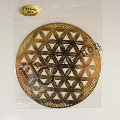 Flower of Life Gold Plated Crystal Grid