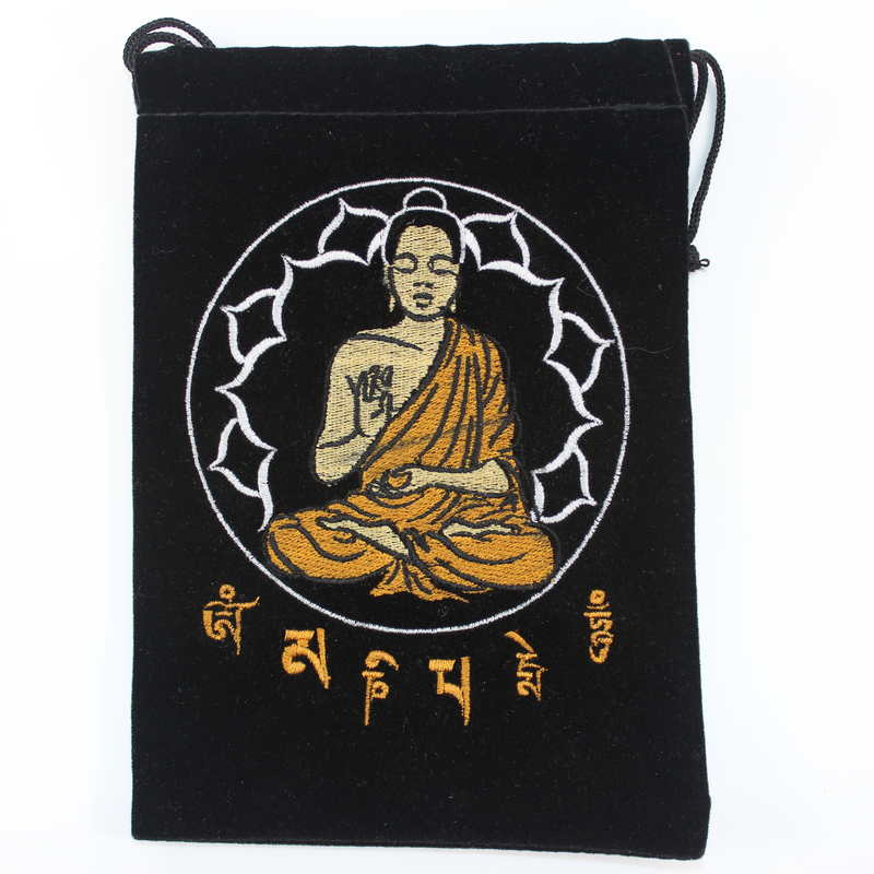 Velvet Card Bag with Embroidered Buddha
