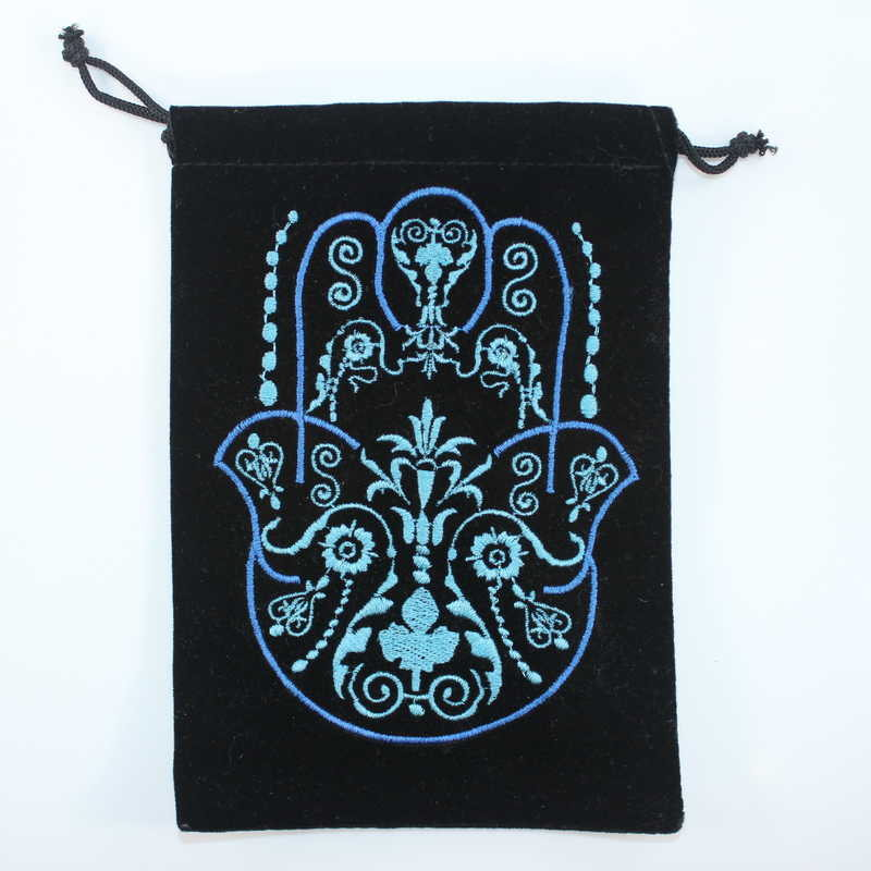 Velvet Card Bag with Embroidered Hand of Hamsa