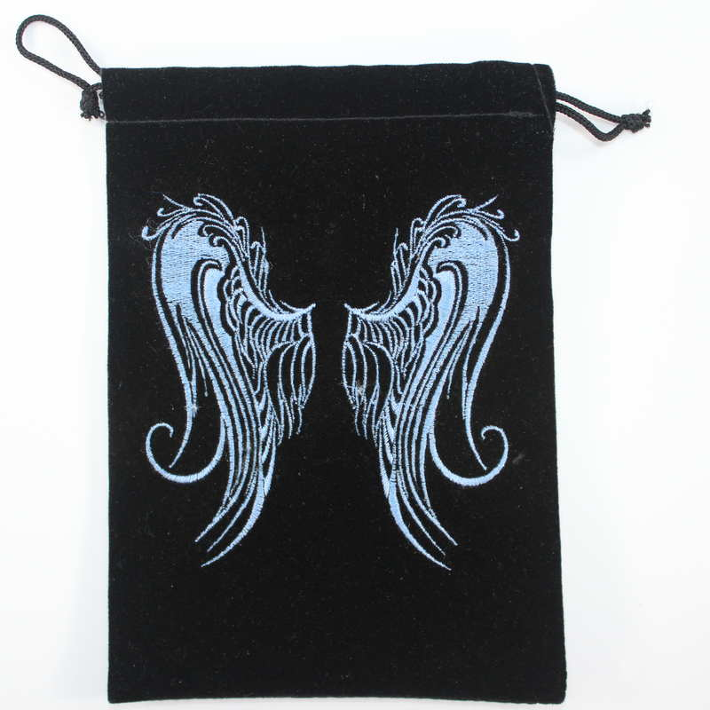 Velvet Card Bag with Embroidered Angel Wings
