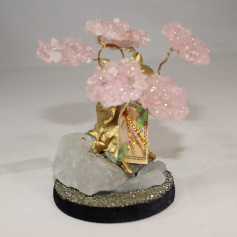Rose Quartz Crystal Bonsai Tree