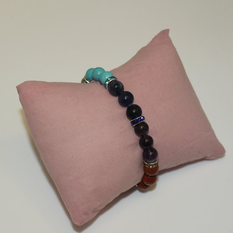 Beaded Bracelet - Crystal Chakra with Jewel Rondelle spacers