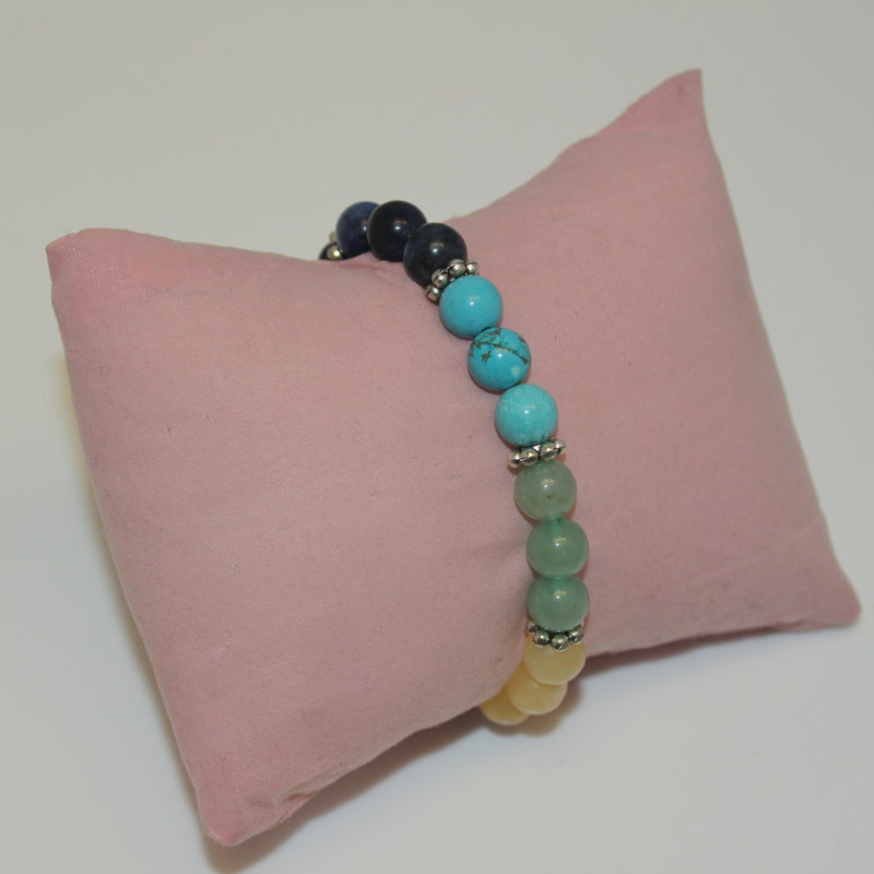 Beaded Bracelet - Crystal Chakra with flower spacers
