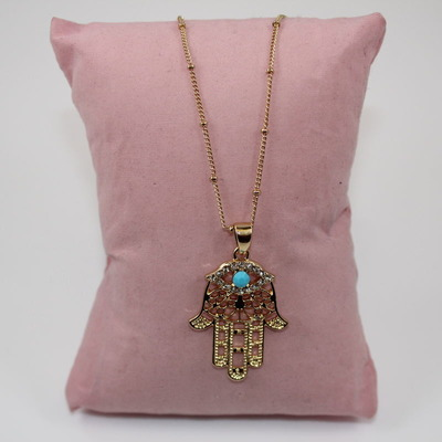 Embellished Hand of Hamsa with Evil Eye Pendant Necklace