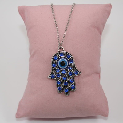 Pewter Hand of Hamsa with Evil Eye Pendant Necklace