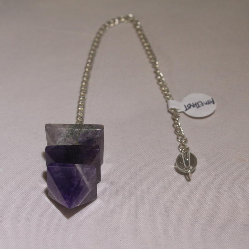 Amethyst (Layered Pyramid) Pendulum with clear crystal bead on the end of the chain