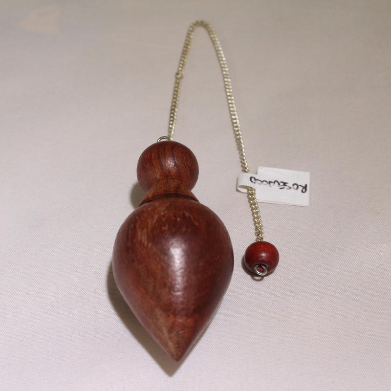 Rosewood (bullet, cork stopper or acorn shape )  Pendulum with Round Rosewood Charm