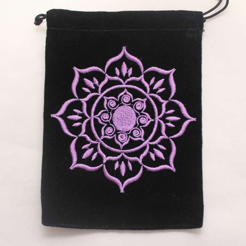 Velvet Card Bag with Embroidered Lotus Flower
