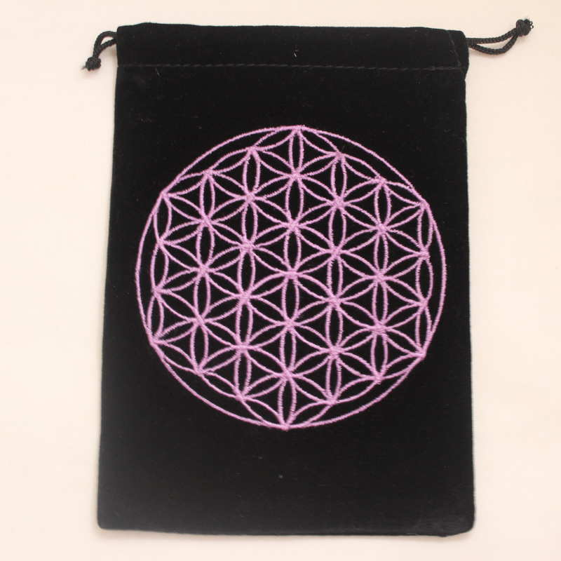 Velvet Card Bag with Embroidered Flower of LIfe