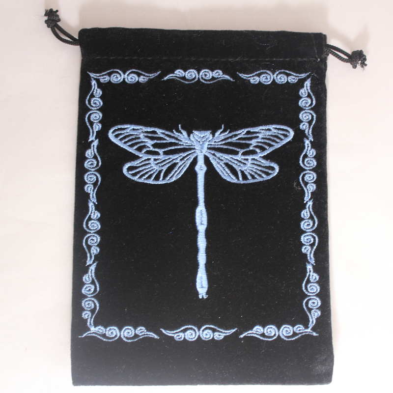Velvet Card Bag with Embroidered Dragonfly