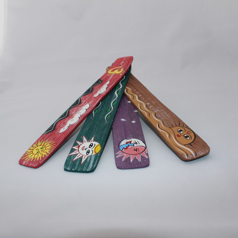 Wooden Incense Burner - Painted Celestial