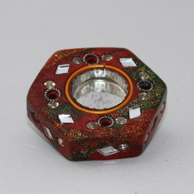 Glittery Indian Incense Burner - Hexagon